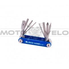 "Шестигранник, набор (2-6 мм, 2 отвертки + 1 головка 8 мм) ""Bike Hand"" Taiwan (mod:YC-262) синий"