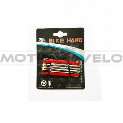 """Шестигранник, набор (2-6 мм, 2 отвертки + 1 головка 8 мм) """"Bike Hand"""" Taiwan (mod:YC-262) красный"""