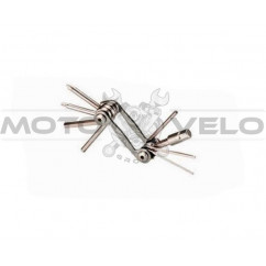 "Шестигранник, набор (2-6 мм, 2 отвертки + 1 головка 8 мм) ""Bike Hand"" Taiwan (mod:YC-286N) цвет: серый"