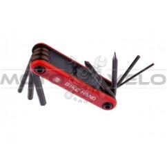 """Шестигранник, набор (2-6 mm, 2 отвертки) """"Bike Hand"""" Taiwan (mod:YC-267) цвет: красный"""