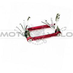 Шестигранник, набор (2-6 мм, 2 отвертки + 1 головка 8 мм) Taiwan (mod:M-1) красный