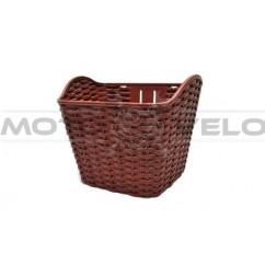 Корзина передняя пластмассовая, плетёная, цвет:коричневый