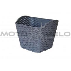 Корзина передняя пластмассовая, плетёная, цвет:серый