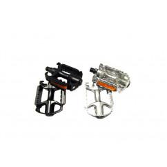 Педали велосипедные алюминиевые, mod:V35, цвет: черный, серебристый (пара)