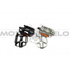 Педали велосипедные алюминиевые, mod:V35 (#MD) цвет: черный, серебристый (пара)