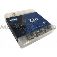 Цепь горная КМС Х10 1/2'x11/128 (silver/black, с замком, 10 скоростей, 116 звеньев)