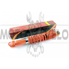 Амортизатор GY6, DIO ZX, LEAD 320mm, регулируемый (оранжевый +паутина) NDT