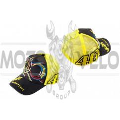 Бейсболка VALENTINO ROSSI (черно-желтая, сетка)
