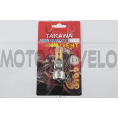 Лампа BA20D (2 уса) 12V 18W/18W (хамелеон розовый) (блистер) TAKAWA (mod:A)