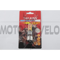 Лампа BA20D (2 уса) 12V 35W/35W (хамелеон розовый) (блистер) TAKAWA (mod:A)