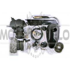 Двигатель велосипедный (в сборе)   80сс   (мех.старт., бак, ручка газа, звезда, цепь)   (черный)   EVO