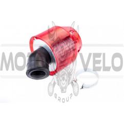 Фильтр воздушный (нулевик) Ø28-40mm, 45* (колокол, красный, прозрачный) KM (mod:KY-A-134)