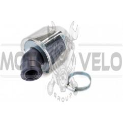 Фильтр воздушный (нулевик) Ø28/40mm, 45* (колокол, прозрачный) KM (mod:KY-A-134)