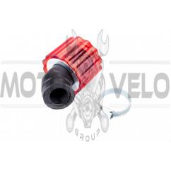 Фильтр воздушный (нулевик) Ø28/40mm, 45* (колокол, красный, прозрачный) KM (mod:KY-A-135)