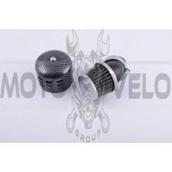 Фильтр воздушный (нулевик) Ø35mm, 45*, колокол (карбон)
