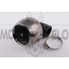 Фильтр воздушный (нулевик) Ø35mm, 90*, турбина (хром)