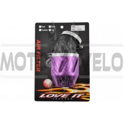 Фильтр воздушный (нулевик) Ø42mm, 45*, пуля (фиолетовый)