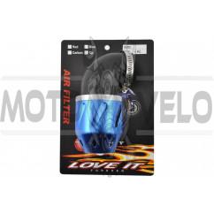 Фильтр воздушный (нулевик) Ø42mm, 90*, пуля (синий)