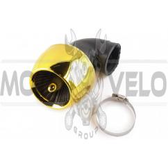 Фильтр воздушный (нулевик) Ø42mm, 90*, турбина (золото)