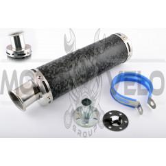 Глушитель (тюнинг) 300*90mm, креп. Ø48mm (нержавейка, мрамор черный, прямоток, тип:1)