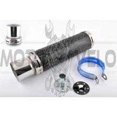 Глушитель (тюнинг) 300*90mm, креп. Ø48mm (нержавейка, мрамор черный, прямоток, тип:5)