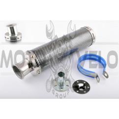 Глушитель (тюнинг) 300*90mm, креп. Ø48mm (нержавейка, карбон mod:2, прямоток, тип:1)