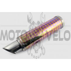 Глушитель (тюнинг) 420*100mm, креп. Ø78mm (нержавейка, квадраты, без креплений, mod:43)