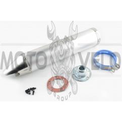 Глушитель (тюнинг) 420*100mm, креп. Ø78mm (нержавейка, хром, прямоток, mod:3)