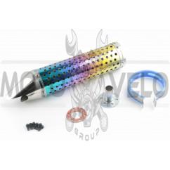 Глушитель (тюнинг) 300*88mm, креп. Ø48mm (нержавейка, радуга, перфорированный, mod:1)