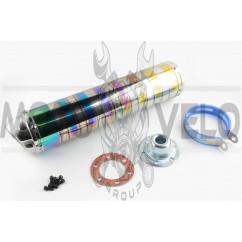 Глушитель (тюнинг) 420*100mm, креп. Ø78mm (нержавейка, зебра, цветной, прямоток, mod:5)