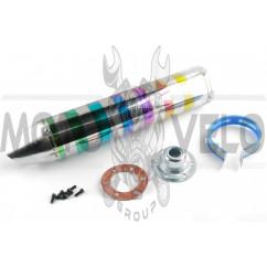 Глушитель (тюнинг) 420*100mm, креп. Ø78mm (нержавейка, зебра, цветной, прямоток, mod:9)