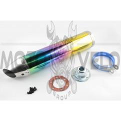 Глушитель (тюнинг) 420*100mm, креп. Ø78mm (нержавейка, радуга, прямоток, mod:1)