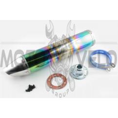 Глушитель (тюнинг) 420*100mm, креп. Ø78mm (нержавейка, радуга, прямоток, mod:2)