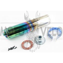 Глушитель (тюнинг) 420*100mm, креп. Ø78mm (нержавейка, радуга, прямоток, mod:4)