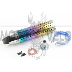 Глушитель (тюнинг) 420*100mm, креп. Ø78mm (нержавейка, радуга, прямоток, mod:5)