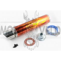 Глушитель (тюнинг) 420*100mm, креп. Ø78mm (нержавейка, пламя, красный, прямоток, mod:1)