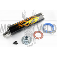Глушитель (тюнинг) 420*100mm, креп. Ø78mm (нержавейка, пламя, черный, прямоток, mod:2)