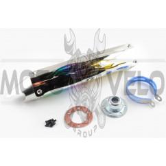 Глушитель (тюнинг) 420*100mm, креп. Ø78mm (нержавейка, пламя, с накладкой, прямоток, mod:1)