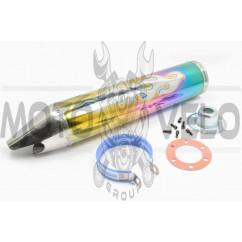 Глушитель (тюнинг) 420*100mm, креп. Ø78mm (нержавейка, пламя, радуга, прямоток, mod:1)