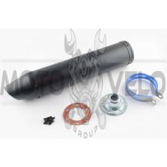 Глушитель (тюнинг) 420*100mm, креп. Ø78mm (гравитекс, черный, прямоток)
