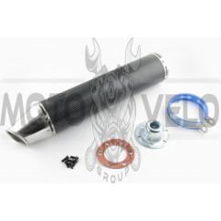 Глушитель (тюнинг) 420*100mm, креп. Ø78mm (нержавейка, карбон черный, прямоток) #3