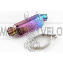 Глушитель (тюнинг) 235*88mm, креп. Ø48mm (нержавейка, овал, фиолетово-синий, прямоток, mod:5)