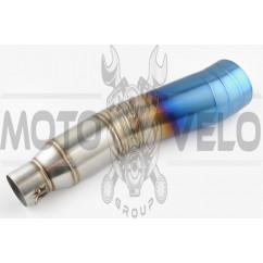 Глушитель (тюнинг) 400*100mm, креп. Ø78mm (нержавейка, сопло, серебристо-синий, прямоток, mod:1)