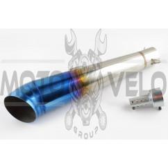 Глушитель (тюнинг) 400*100mm, креп. Ø78mm (нержавейка, сопло, многоцветный, прямоток, mod:2)