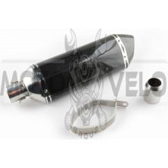 Глушитель (тюнинг) 301*105mm, креп. Ø78mm (нержавейка, три-овал, карбон светлый, прямоток, mod:3)