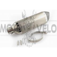 Глушитель (тюнинг) 301*105mm, креп. Ø78mm (нержавейка, три-овал, серебро, прямоток, mod:4)