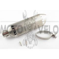 Глушитель (тюнинг) 301*105mm, креп. Ø78mm (нержавейка, три-овал, серебро, прямоток, mod:5)