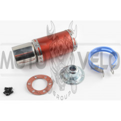 Глушитель (тюнинг) 170*100mm, креп. Ø78mm (нержавейка, короткий, красный, прямоток, mod:3)