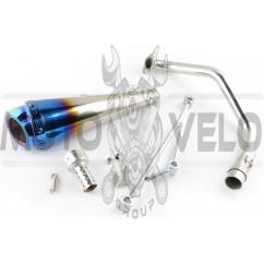 Глушитель (тюнинг) 300*100mm, креп. Ø48mm (нержавейка, сопло, синий, прямоток, mod:5)