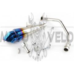 Глушитель (тюнинг) 300*100mm, креп. Ø48mm (нержавейка, сопло, синий, прямоток, mod:10)
